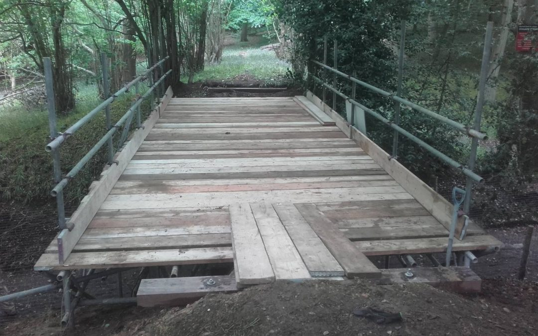 Photos of recent work – bridge scaffold over bridleway at Pyrford